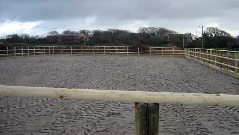 EQUESTRIAN SAND SCHOOL FENCING - POST RAIL FULL SIZE ARENA