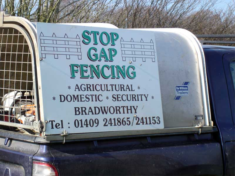 STOPGAP FENCING VEHICLE SIGN